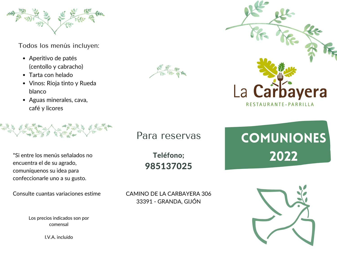 La Carbayera -  COMUNIONES 2016 - Restaurante Parrilla La Carbayera